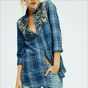 Free People Flannel Beaded Blue Shirt Jacket XS